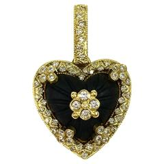 Stambolian Frosted Onyx Diamond 18 Karat Gold Heart Pendant Enhancer