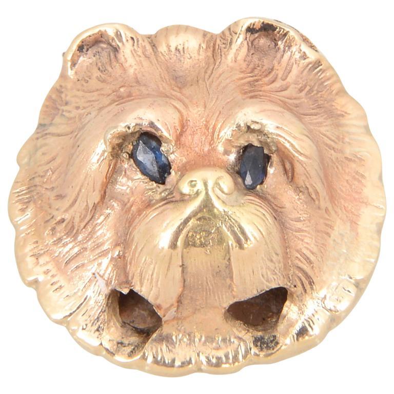 Victorian Sapphire Gold Dog's Head (Yorkie or Maltese) Slide