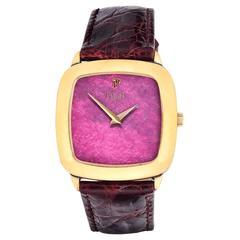 Piaget Vintage Yellow Gold Rhodonite Dial Quartz Wristwatch