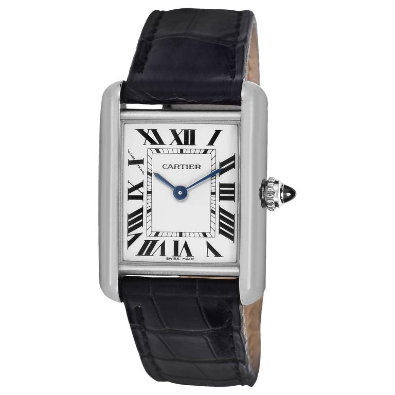 Cartier Ladies White Gold Tank Quartz Wristwatch 1