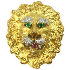 Hammerman Brothers Emerald Ruby Diamond Gold Lion Pendant Brooch