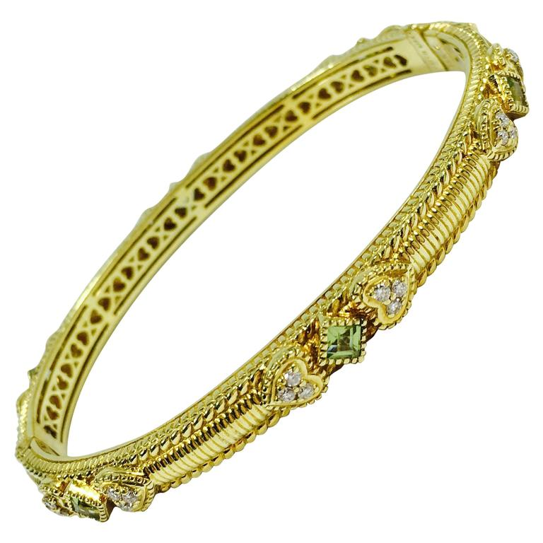 Judith Ripka Romance Diamond Peridot Gold Hinged Bangle Bracelet For