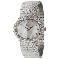 Piaget Ladies White Gold Diamond Mother Of Pearl Dial Wristwatch