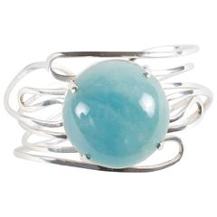 Sterling Silver and Round Aquamarine Cabochon Bracelet