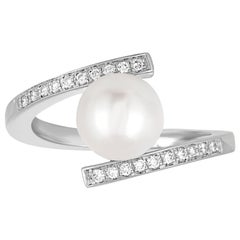 Diamond And 8.3MM Freshwater Cultured Pearl Bypass Gold Ring