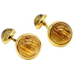 Elegant Rutilated Quartz and Gold Cufflinks