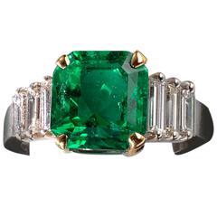 Certified Colombian 3.59 Carat Emerald Diamond Ring