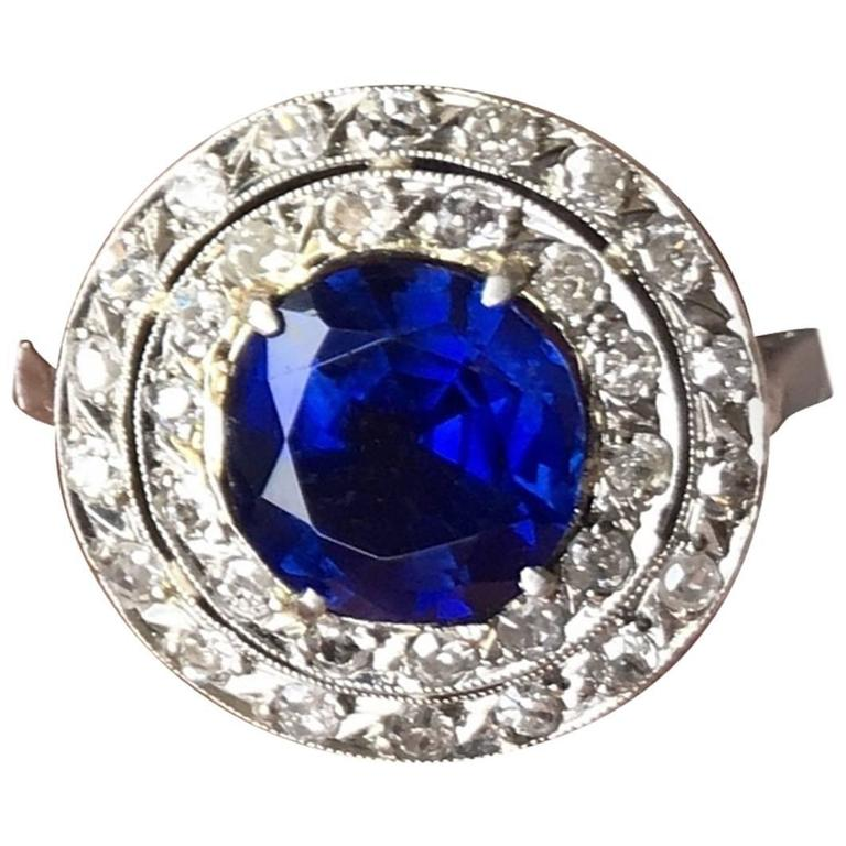 Edwardian Natural Burma Sapphire Diamond Platinum Ring