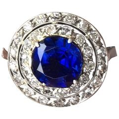 Edwardian Natural Burma Sapphire Diamond Platinum Ring