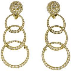 18K Yellow Gold Circle Diamond Dangle Earrings