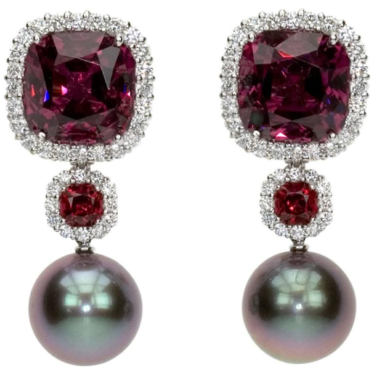 """Samuel Getz"" Exceptional Tahitian Pearl, Spinel Garnet & Diamond Plat Earrings"