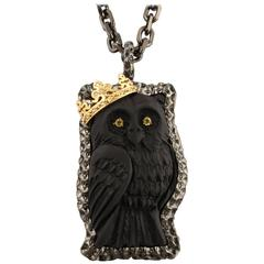 "Amedeo ""Owl"" Cameo  Gold Necklace"