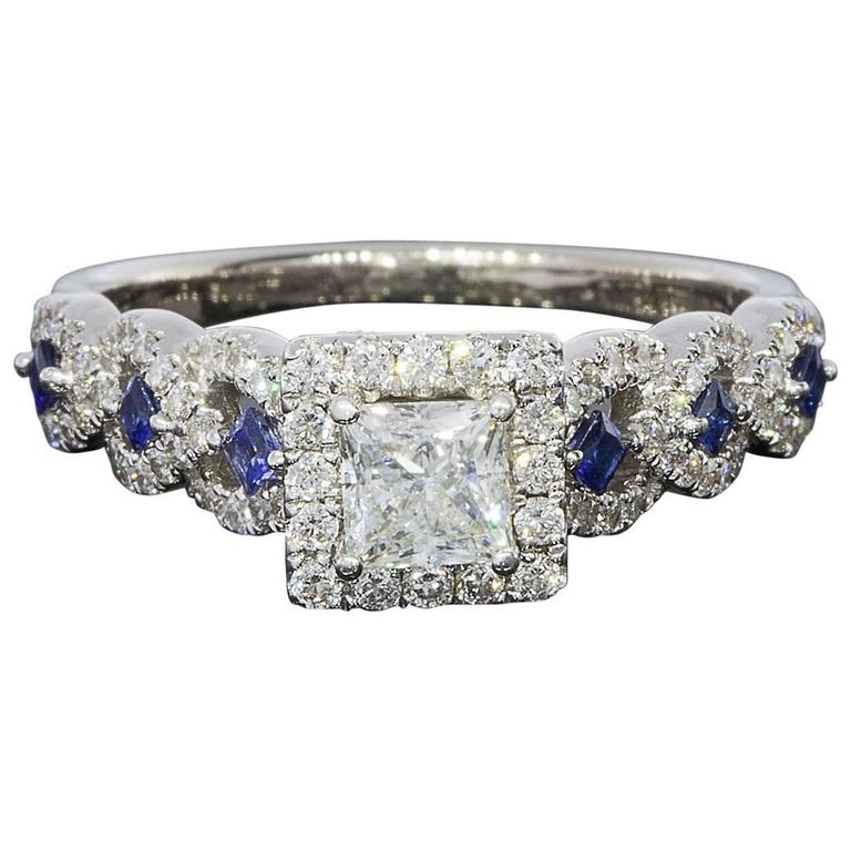 Vera Wang Princess Diamond Sapphire Halo Engagement Ring