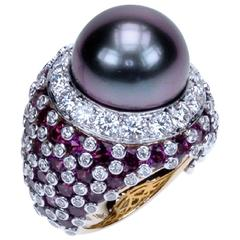 Samuel Getz Tahitian Pearl Purple Garnet Diamond Two Color Gold Ring
