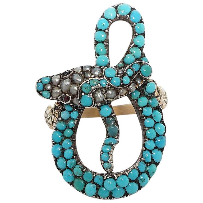 Exceptional Victorian Turquoise Pearl Ruby Gold Snake Ring 1