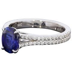 Custom Sapphire Diamond Gold Split Shank Ring