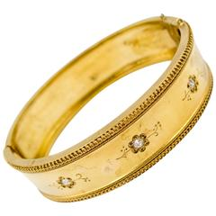Victorian  Diamond Gold Bangle Bracelet