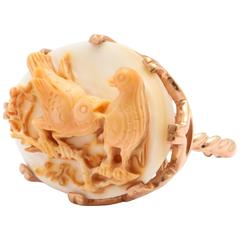 Amedeo Triple Carved Birds Cameo Ring
