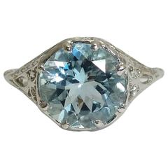 Aquamarine Platinum Filigree Ring