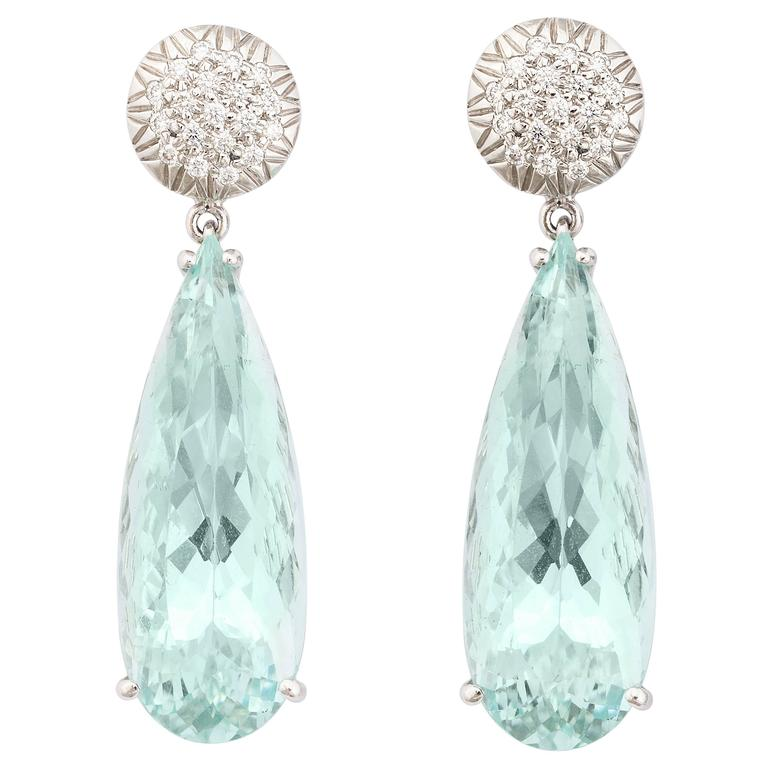 Faraone Mennella Ice Princess Aquamarine Diamonds Earrings. 2