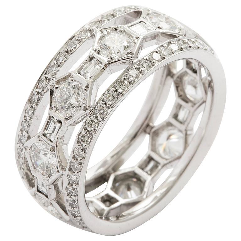 Tanagro Jewelry Diamonds Platinum Triple Band Ring