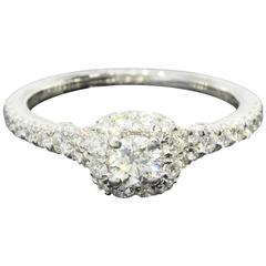 Gabriel & Co. 1.05 Carats Round Diamonds Gold Halo Engagement Ring