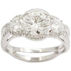 Triple Diamond Platinum Ring with Pave Diamonds