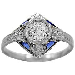 Antique Engagement Ring .43ct. Diamond, Sapphire & 18K White Gold