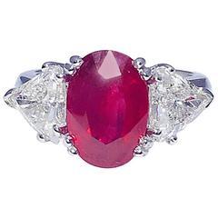 4.51 Carat Burma Ruby Diamond Platinum Ring
