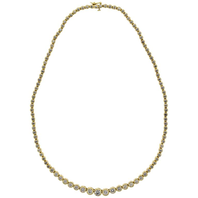 14kt Yellow Gold & Diamond Tennis Style Necklace