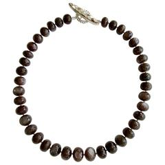 Chocolate Moonstone Choker Necklace Inlay Mother of Pearl Toggle Necklace