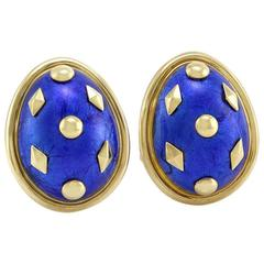 Tiffany & Co. Schlumberger Gold and Enamel Dot Losange Earclips