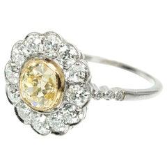 GIA Certified 1.39 Carat Natural Yellow White Diamond Platinum Engagement Ring