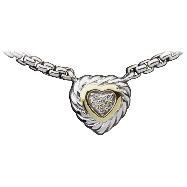 6f4ecf2abe2ec David Yurman Silver and Gold Pave Diamond Heart Pendant Necklace at ...