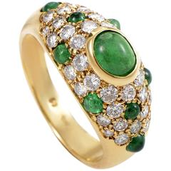 Cartier Colombian Emerald Diamond Gold Ring