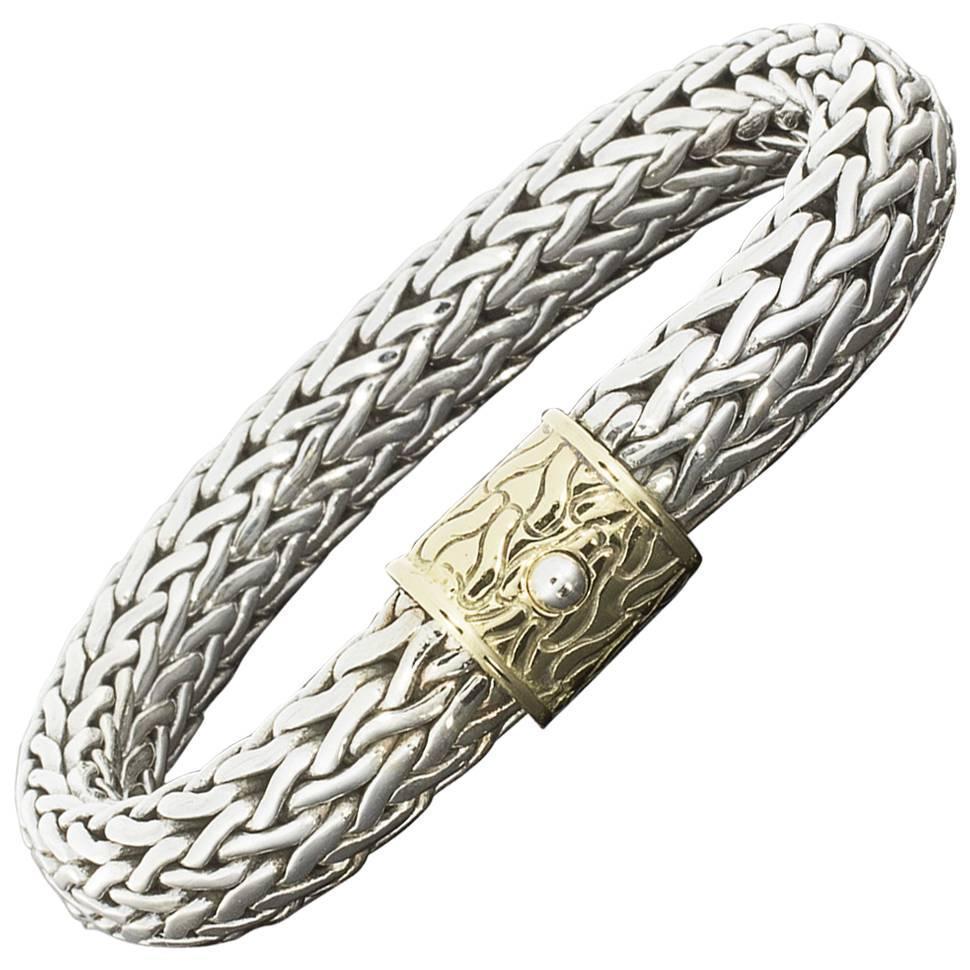 john hardy silver wide classic woven bracelet with