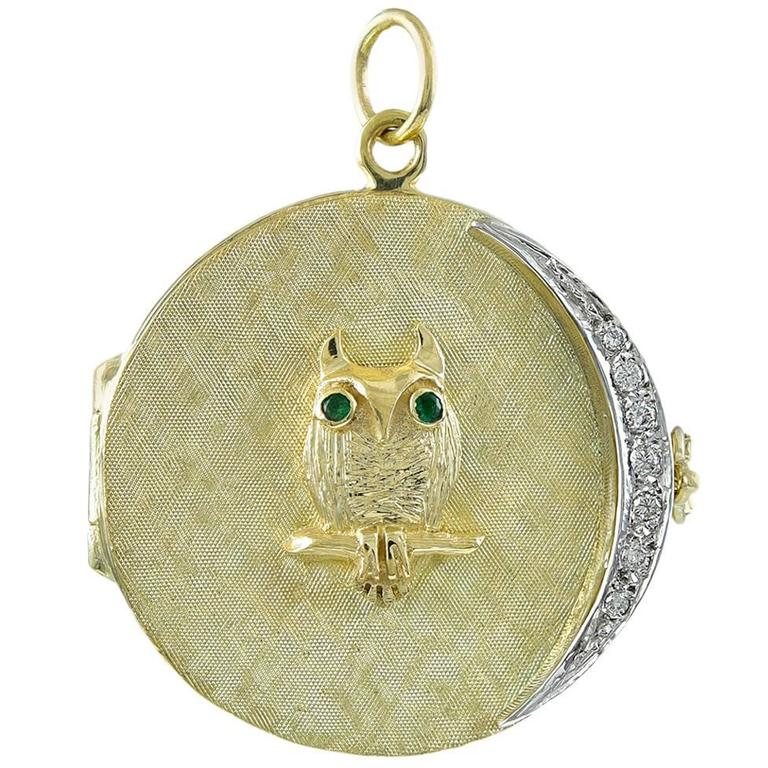 Great Owl Four Picture Gold Locket with Diamond Moon For Sale