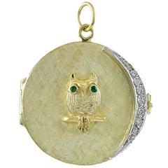 Great Owl Four Picture Gold Locket with Diamond Moon