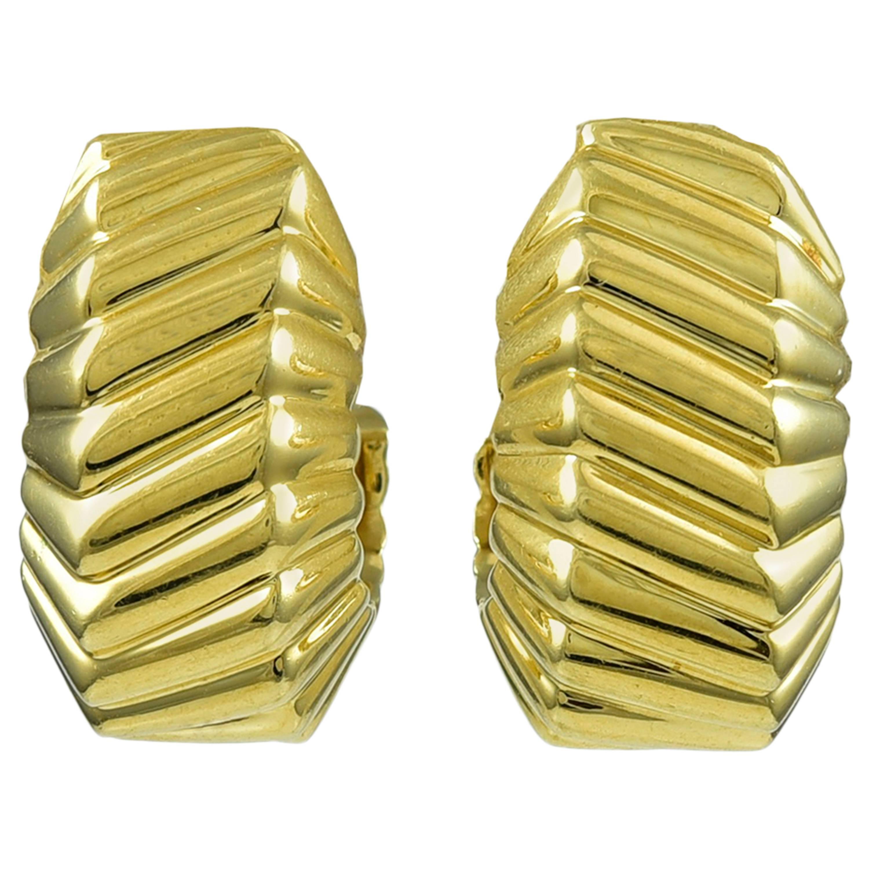 Tiffany & Co. Gold Beveled Ear Clips