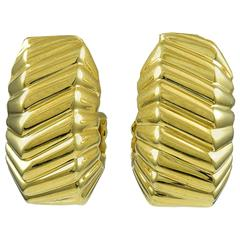 Tiffany & Co. Gold Beveled Ear Clips