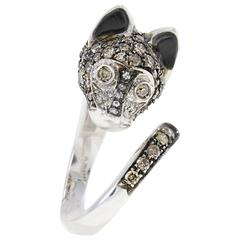 Luise Brown Diamond Onyx Gold Fox Ring