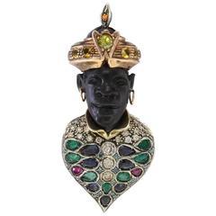 Luise Gem Stone Silver Gold Moretti Pendant