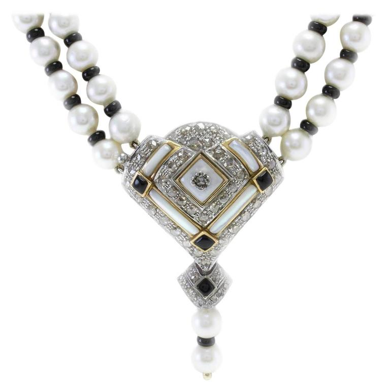 Queenly Pearl Onyx Mother-of-Pearl Diamond Gold Necklace