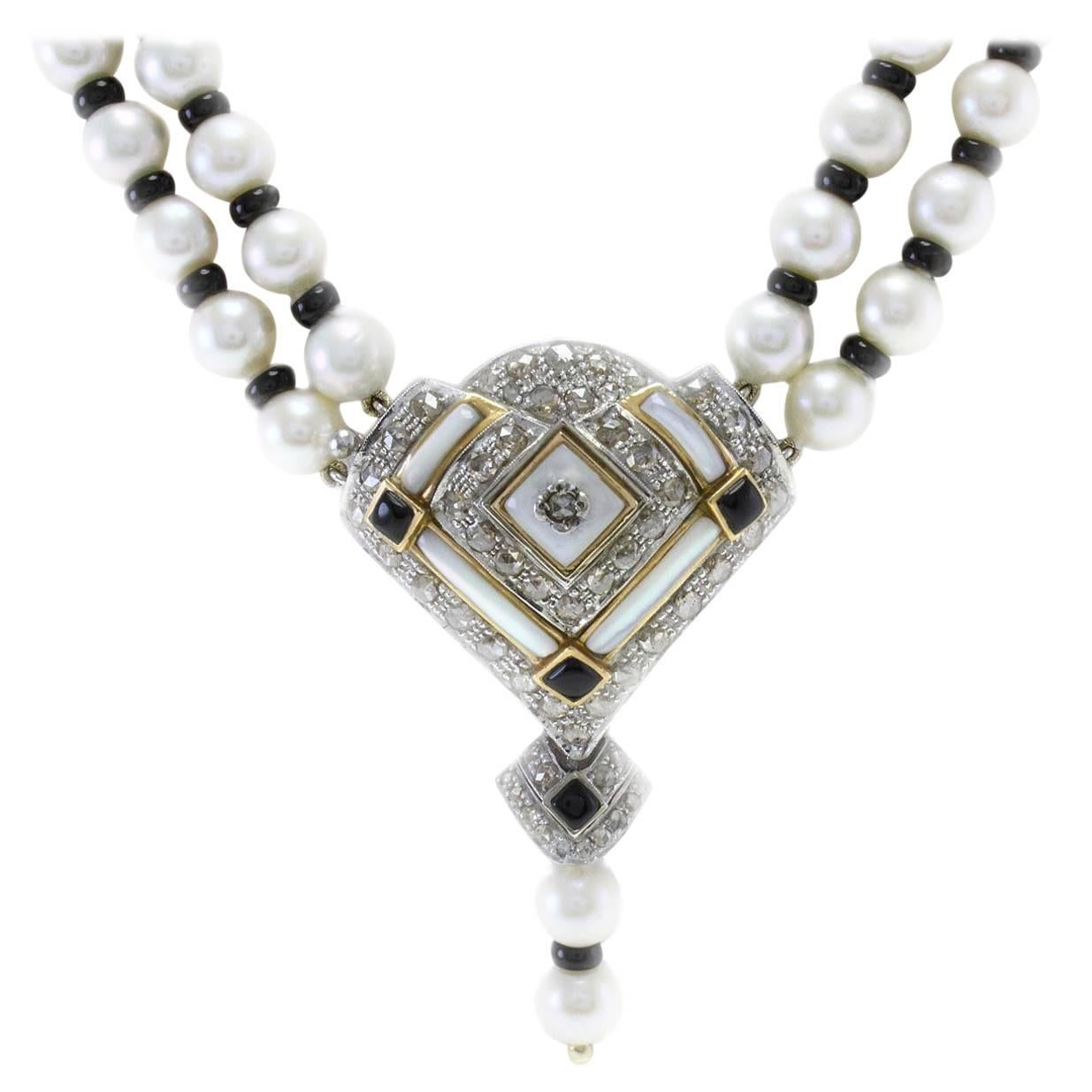 Pearl Onyx Mother-of-Pearl Diamond Gold Multi-Strand Necklace