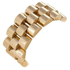 French Retro Gold 'Tank Track' Bracelet