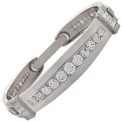 Art Deco Diamond and Platinum Hinged Bangle Bracelet