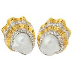 Large Baroque Pearl Diamond Gold Shell Ear Clips