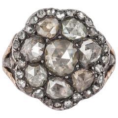 Georgian Closed Back Diamond Silver Gold Ring
