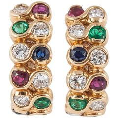 Multi Coloured Gem Set Gold Clip Earrings