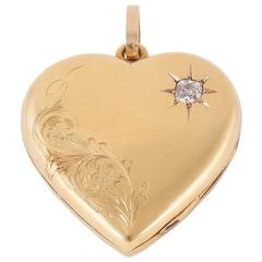 Victorian Diamond Gold Heart Locket